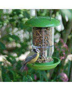 Voedersilo-vogel-eten-tuin-groene-silo-voer