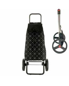 rolser-boodschappenkar-stroptas-zwart-met-grijze-print-opklapbaar-frame-grote-wielen-zwart-klein-opvouwbaar-praktisch