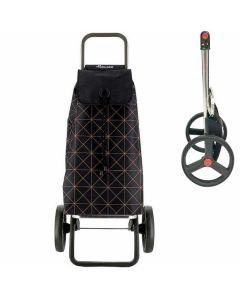 rolser-boodschappenkar-stroptas-zwart-met-bruine-print-opklapbaar-frame-grote-wielen-zwart-klein-praktisch