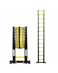 Echelle-téléscopique-extensible-4,4m-noir-jaune-aluminium-solide-usage-sûr